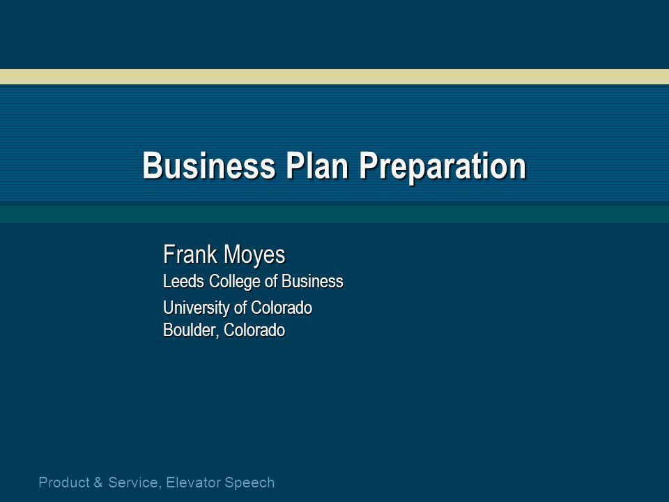 Business plan preparation service