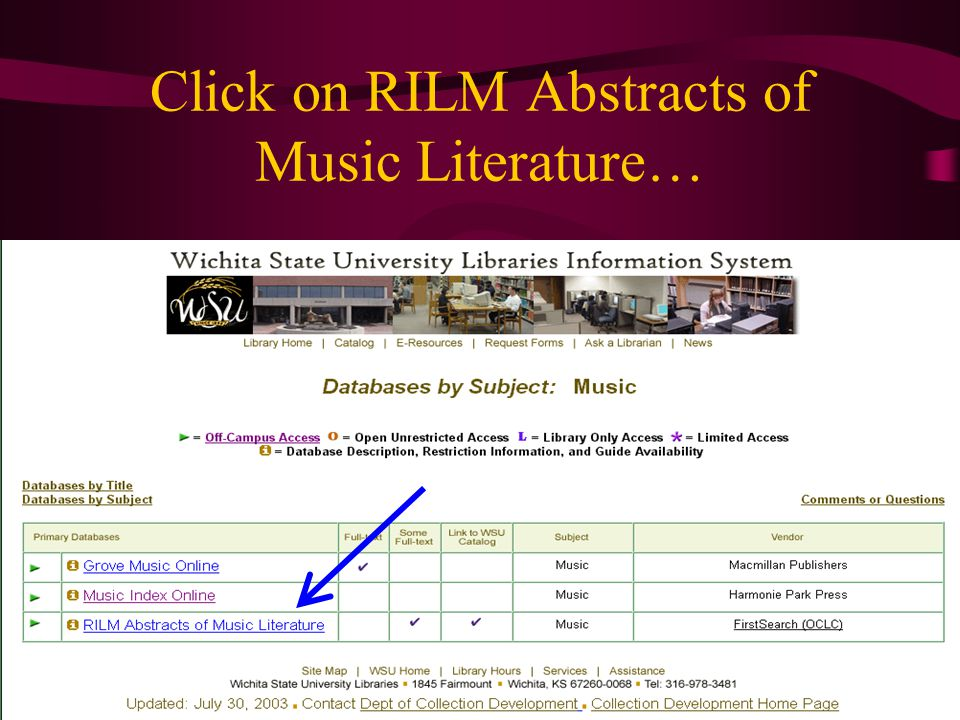 Click on RILM Abstracts of Music Literature…