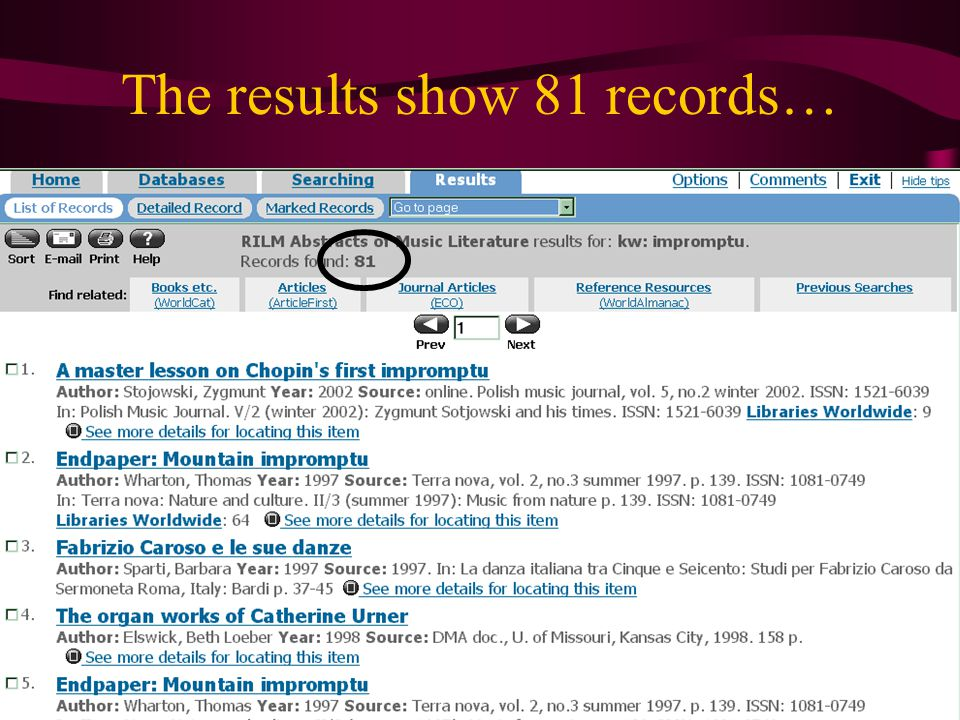 The results show 81 records…