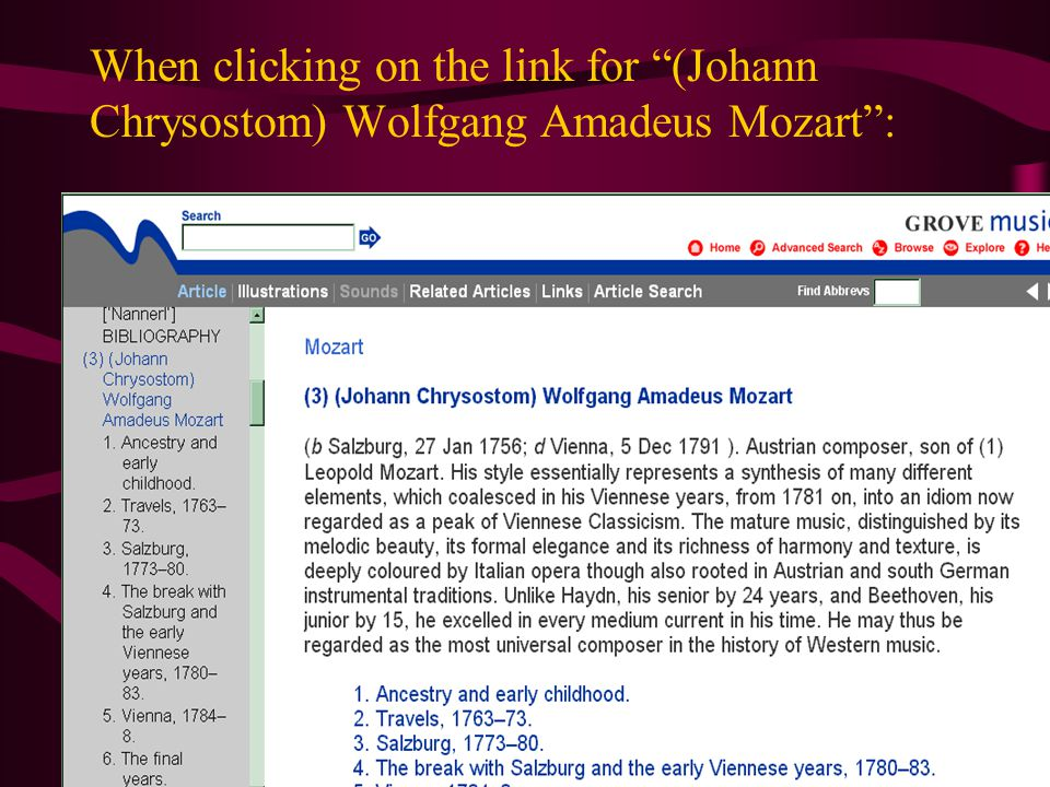 When clicking on the link for (Johann Chrysostom) Wolfgang Amadeus Mozart :