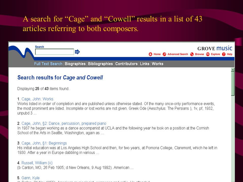 A search for Cage and Cowell results in a list of 43 articles referring to both composers.