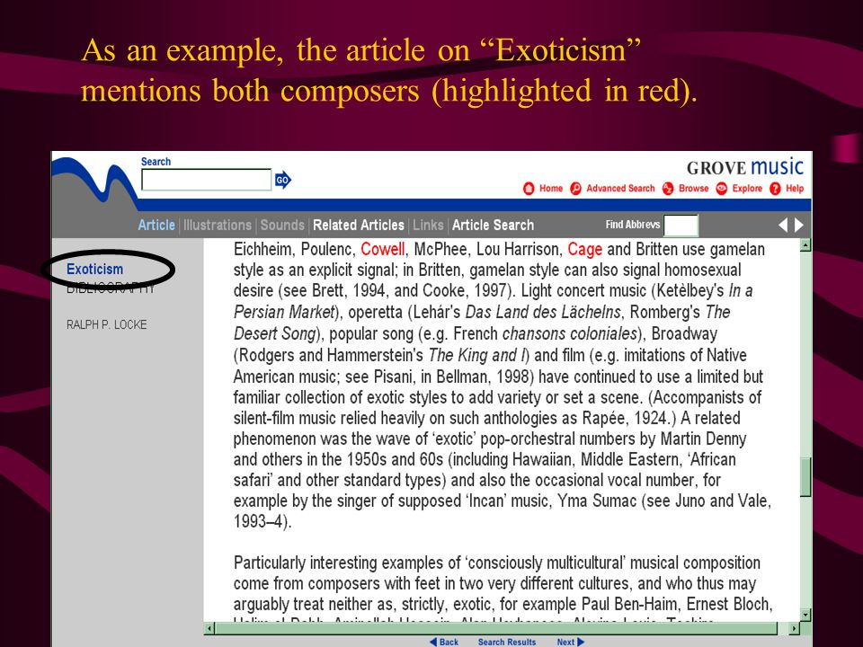 As an example, the article on Exoticism mentions both composers (highlighted in red).