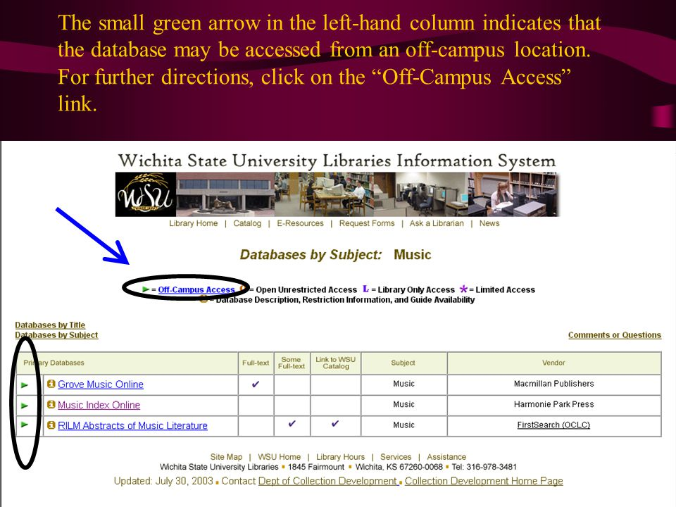 The small green arrow in the left-hand column indicates that the database may be accessed from an off-campus location.