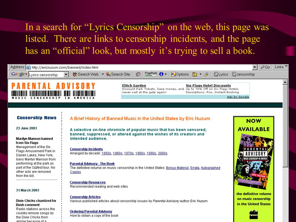 In a search for Lyrics Censorship on the web, this page was listed.