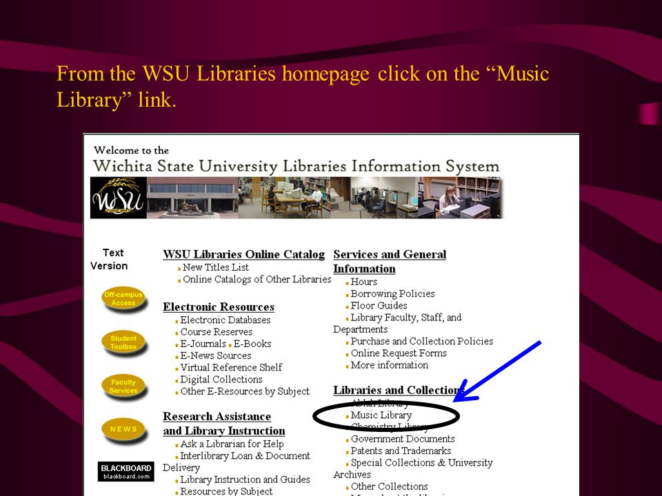 From the WSU Libraries homepage click on the Music Library link.