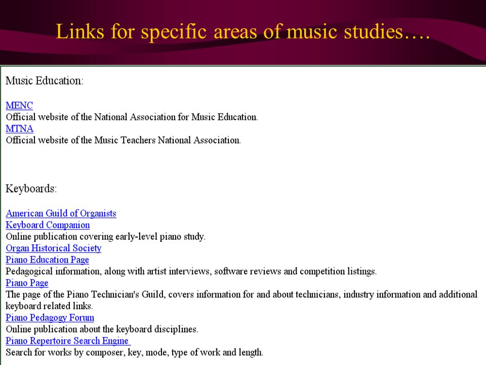 Links for specific areas of music studies….