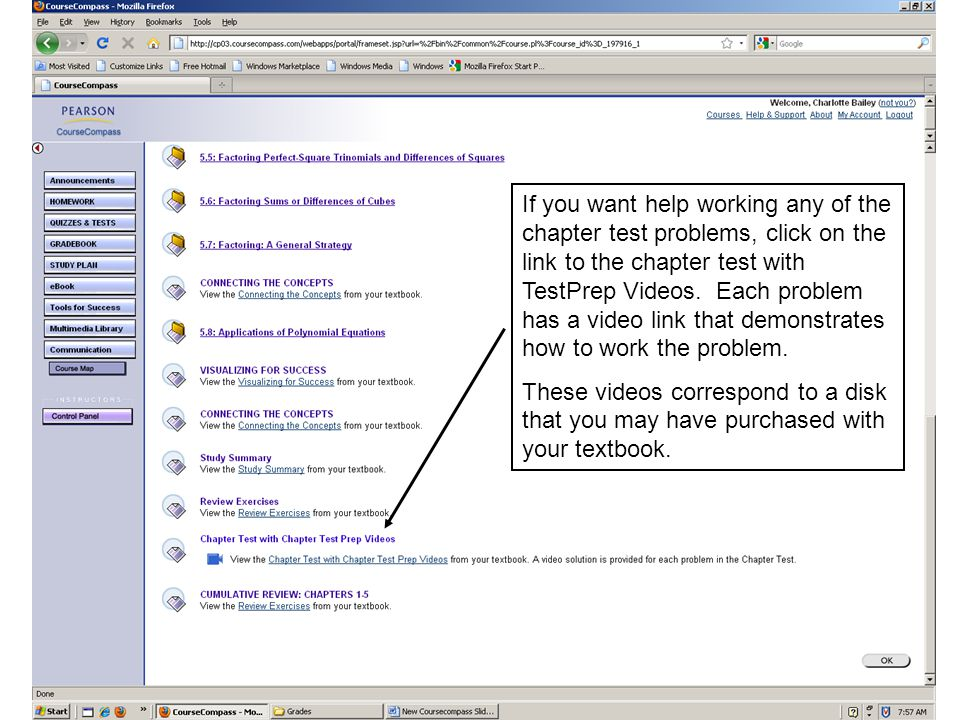 If you want help working any of the chapter test problems, click on the link to the chapter test with TestPrep Videos.