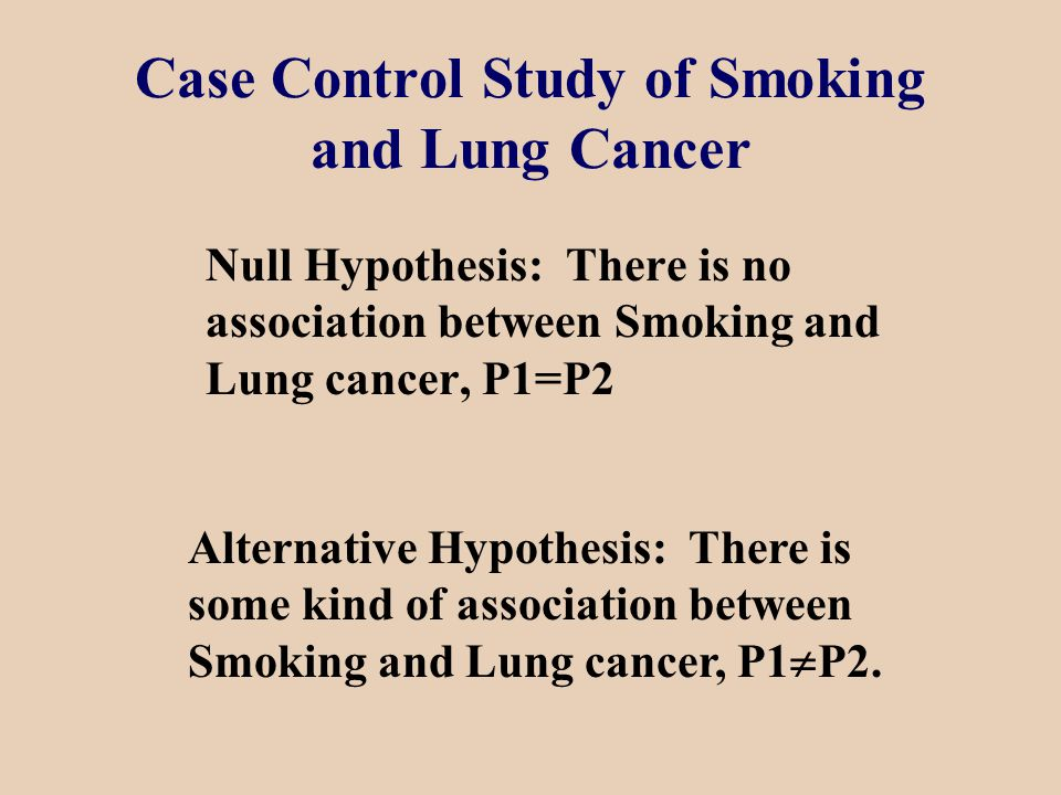 Case Control Study of Smoking and Lung Cancer Null Hypothesis: There is no association between Smoking and Lung cancer, P1=P2 Alternative Hypothesis: There is some kind of association between Smoking and Lung cancer, P1  P2.