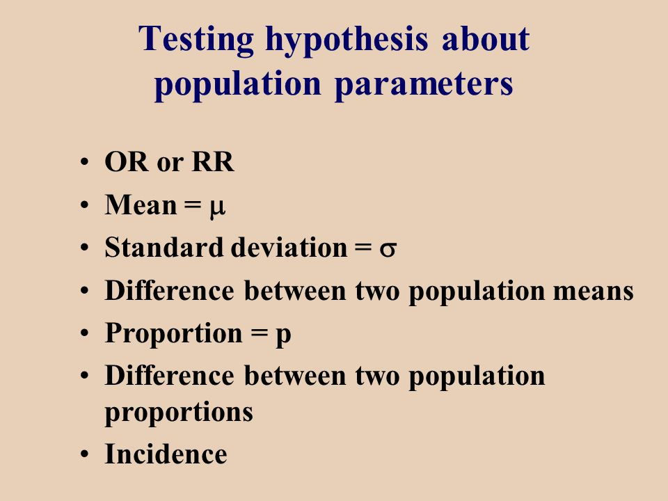 Testing hypothesis about population parameters OR or RR Mean =  Standard deviation =  Difference between two population means Proportion = p Difference between two population proportions Incidence