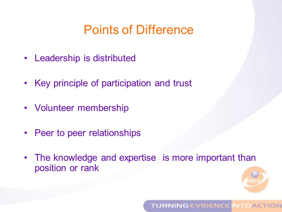 Points of Difference Leadership is distributed Key principle of participation and trust Volunteer membership Peer to peer relationships The knowledge and expertise is more important than position or rank