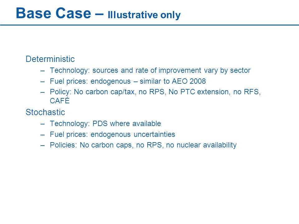 Base Case – Illustrative only Deterministic –Technology: sources and rate of improvement vary by sector –Fuel prices: endogenous – similar to AEO 2008 –Policy: No carbon cap/tax, no RPS, No PTC extension, no RFS, CAFÉ Stochastic –Technology: PDS where available –Fuel prices: endogenous uncertainties –Policies: No carbon caps, no RPS, no nuclear availability