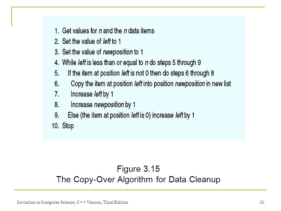Invitation to Computer Science, C++ Version, Third Edition 30 Figure 3.15 The Copy-Over Algorithm for Data Cleanup