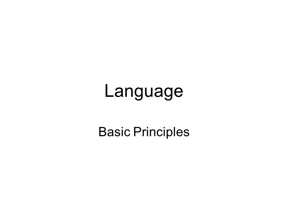 Language Basic Principles