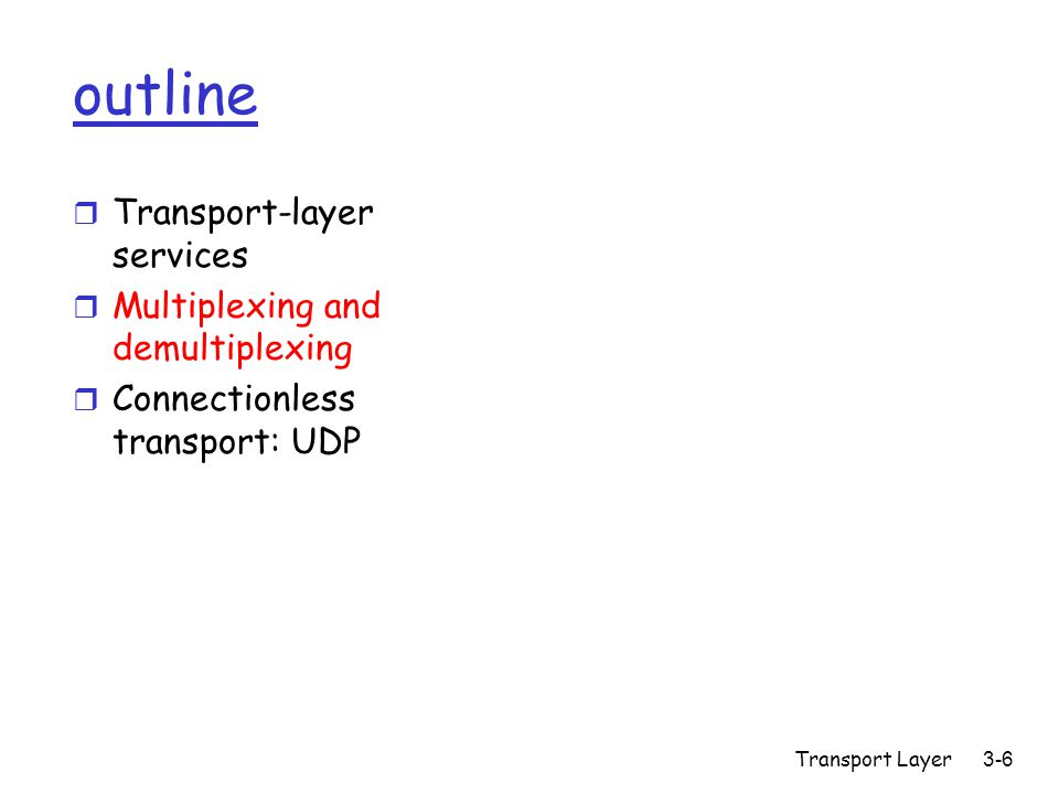 Transport Layer3-6 outline r Transport-layer services r Multiplexing and demultiplexing r Connectionless transport: UDP