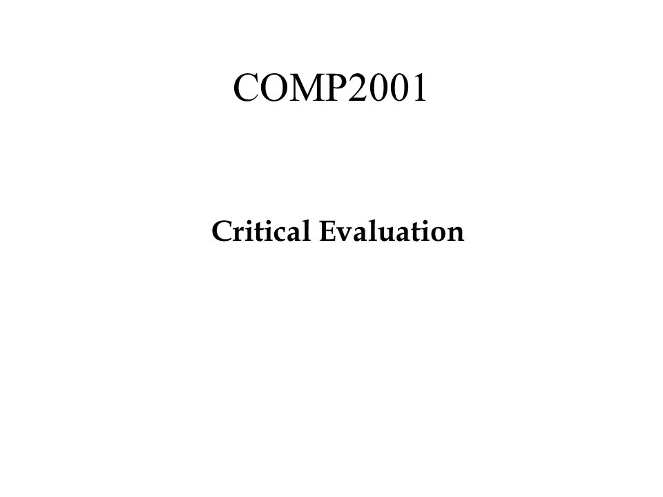 COMP2001 Critical Evaluation