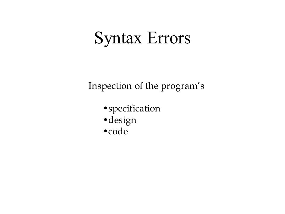 Syntax Errors Inspection of the program's specification design code