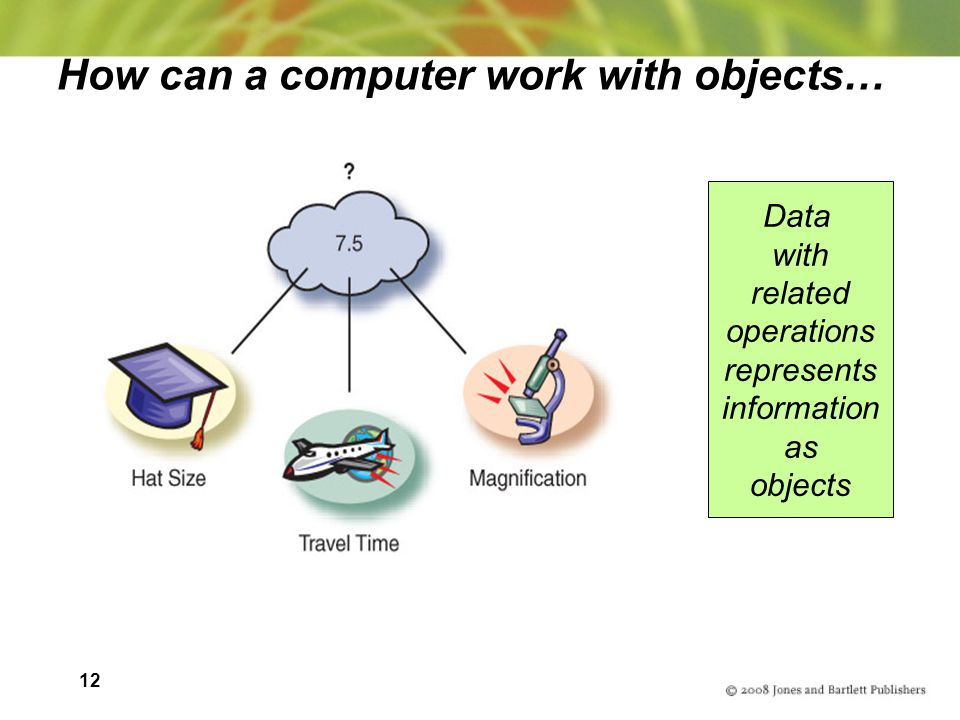 12 How can a computer work with objects… Data with related operations represents information as objects