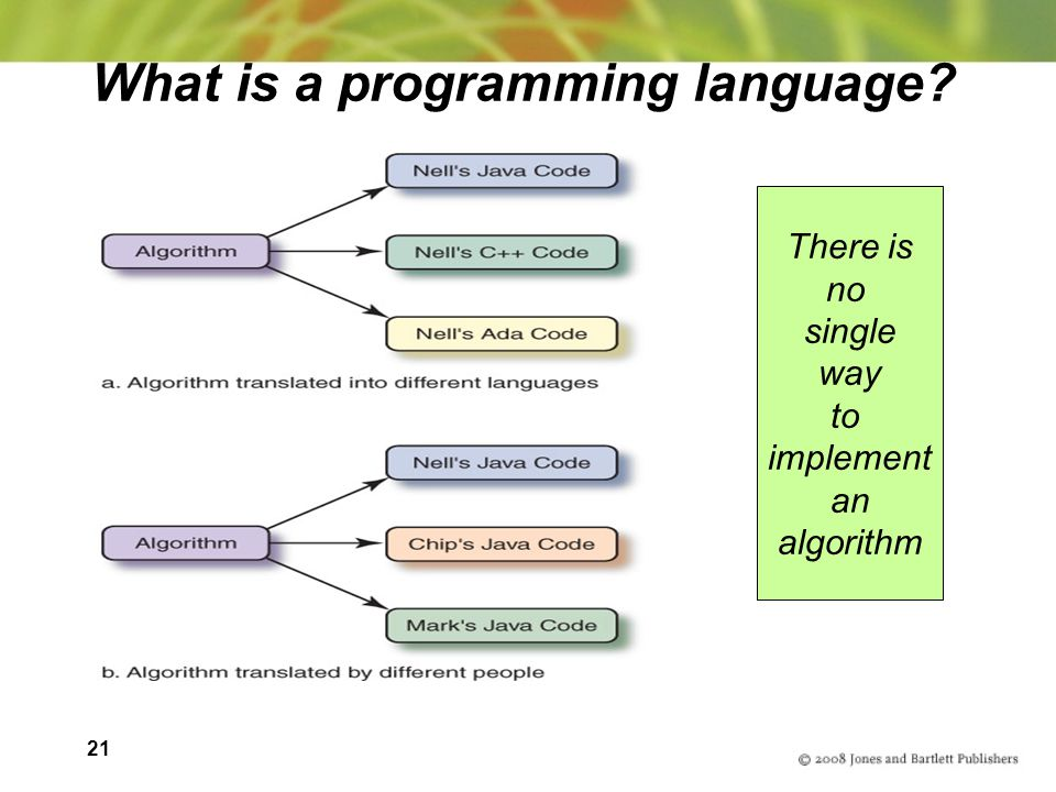 21 What is a programming language There is no single way to implement an algorithm