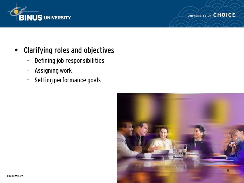 Bina Nusantara 9 Clarifying roles and objectives – Defining job responsibilities – Assigning work – Setting performance goals