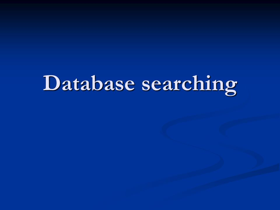 Database searching