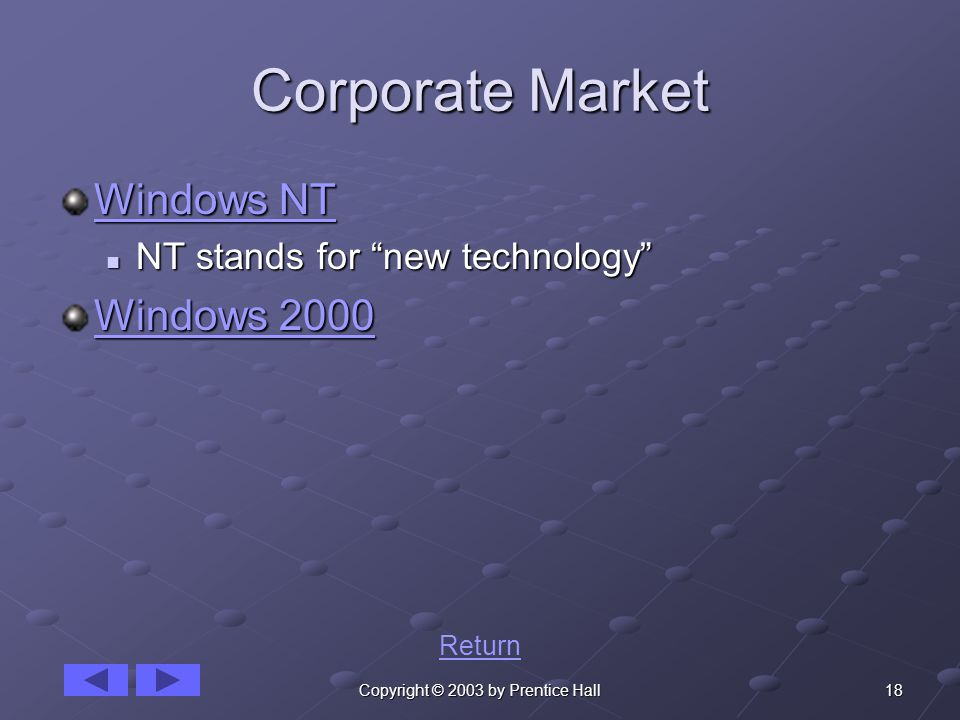 18Copyright © 2003 by Prentice Hall Corporate Market Windows NT Windows NT NT stands for new technology NT stands for new technology Windows 2000 Windows 2000 Return