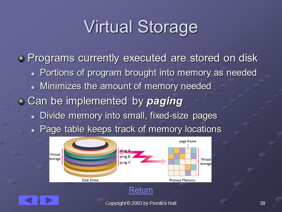 38Copyright © 2003 by Prentice Hall Virtual Storage Programs currently executed are stored on disk Portions of program brought into memory as needed Portions of program brought into memory as needed Minimizes the amount of memory needed Minimizes the amount of memory needed Can be implemented by paging Divide memory into small, fixed-size pages Divide memory into small, fixed-size pages Page table keeps track of memory locations Page table keeps track of memory locations Return