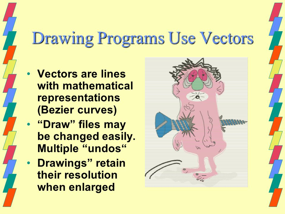Illustration (Drawing) Programs Most Common-- Macromedia Freehand Adobe Illustrator Corel Draw Some combination paint/draw