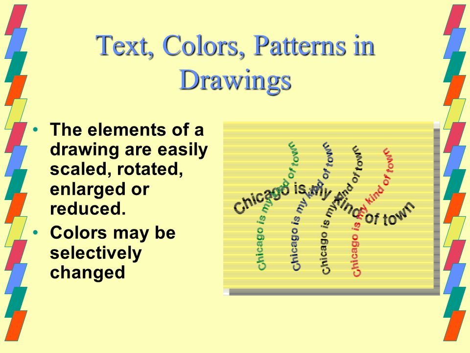 Drawing Programs Use Vectors Vectors are lines with mathematical representations (Bezier curves) Draw files may be changed easily.