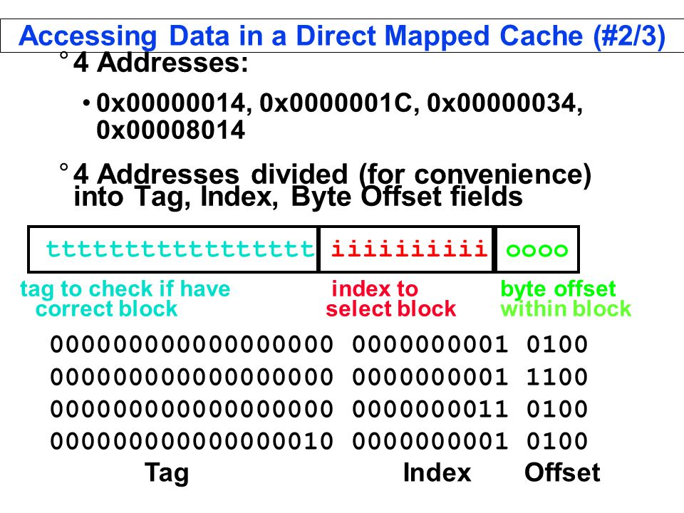 Accessing Data in a Direct Mapped Cache (#2/3) °4 Addresses: 0x , 0x C, 0x , 0x °4 Addresses divided (for convenience) into Tag, Index, Byte Offset fields Tag Index Offset ttttttttttttttttt iiiiiiiiii oooo tag to check if have index to byte offset correct block select block within block