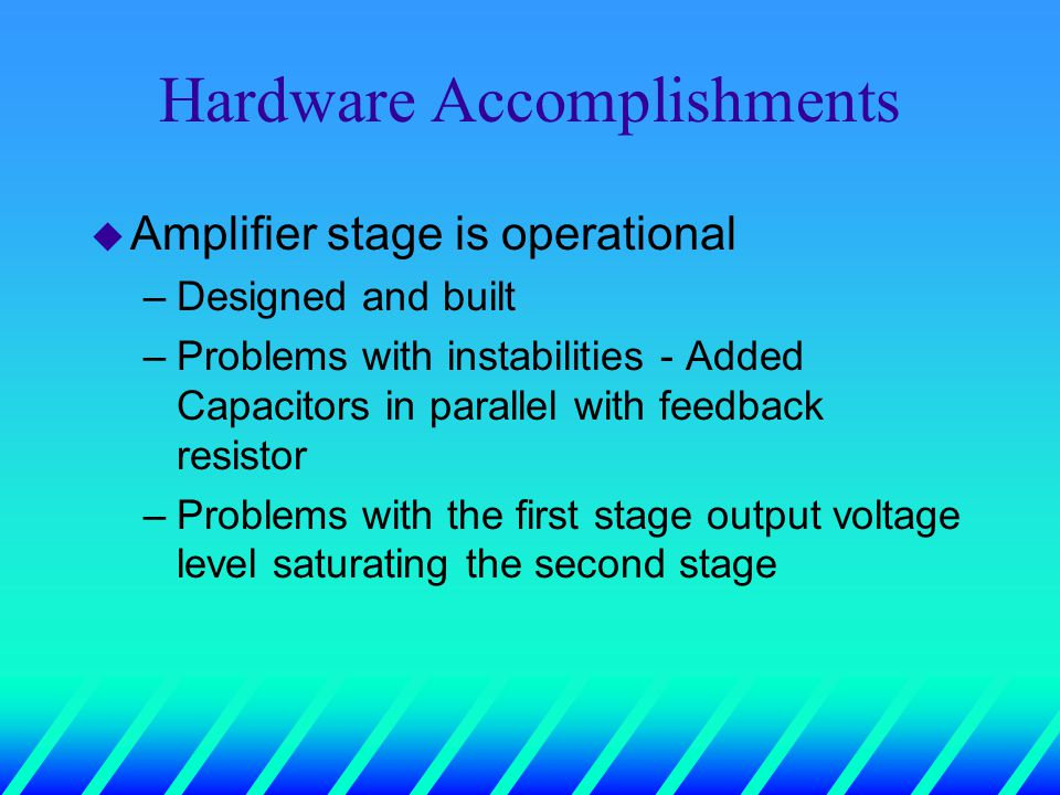 Hardware Accomplishments u Amplifier stage is operational –Designed and built –Problems with instabilities - Added Capacitors in parallel with feedback resistor –Problems with the first stage output voltage level saturating the second stage