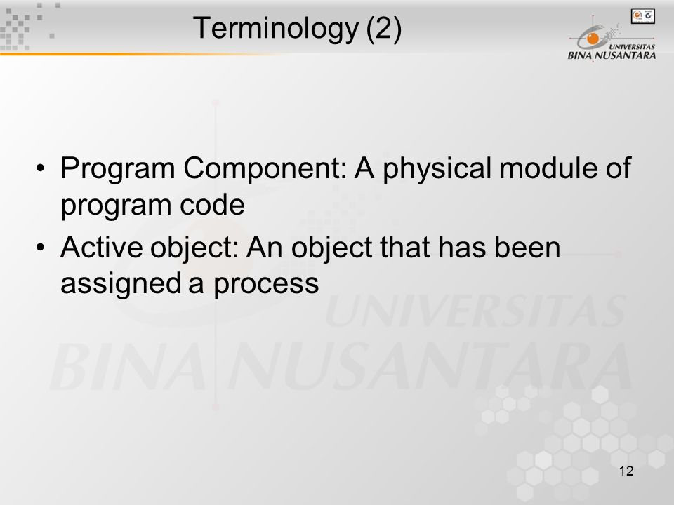 12 Terminology (2) Program Component: A physical module of program code Active object: An object that has been assigned a process