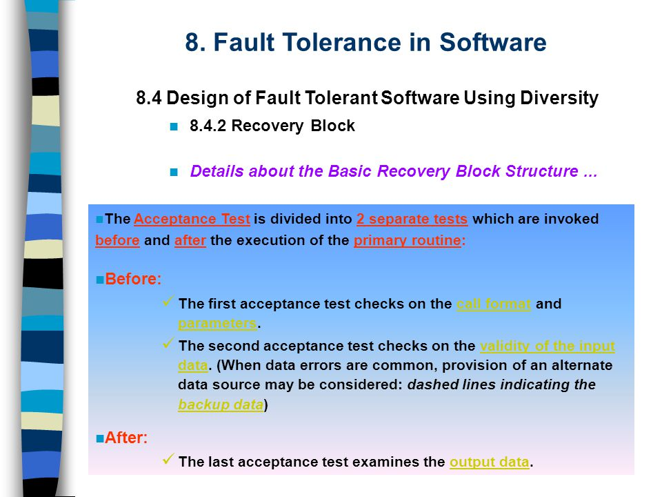 The Acceptance Test is divided into 2 separate tests which are invoked before and after the execution of the primary routine: Before: The first acceptance test checks on the call format and parameters.