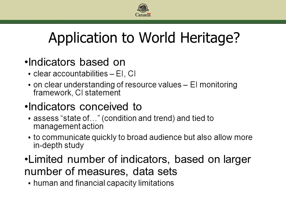 Application to World Heritage.