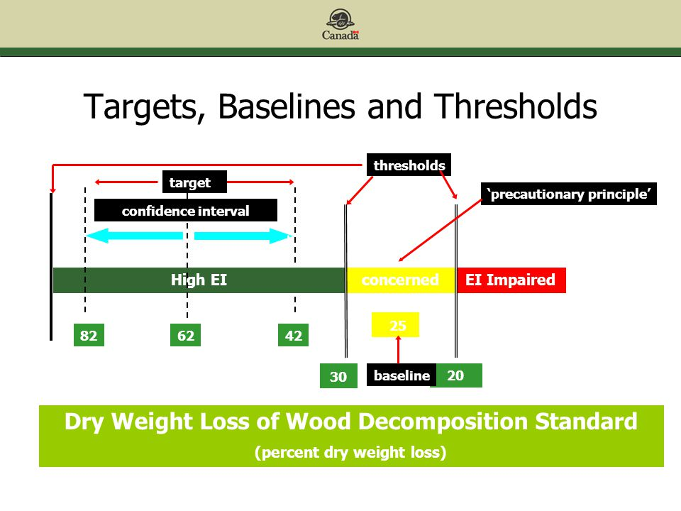 Targets, Baselines and Thresholds 42 Dry Weight Loss of Wood Decomposition Standard (percent dry weight loss) High EIconcernedEI Impaired target confidence interval thresholds baseline 82 'precautionary principle' 62 42