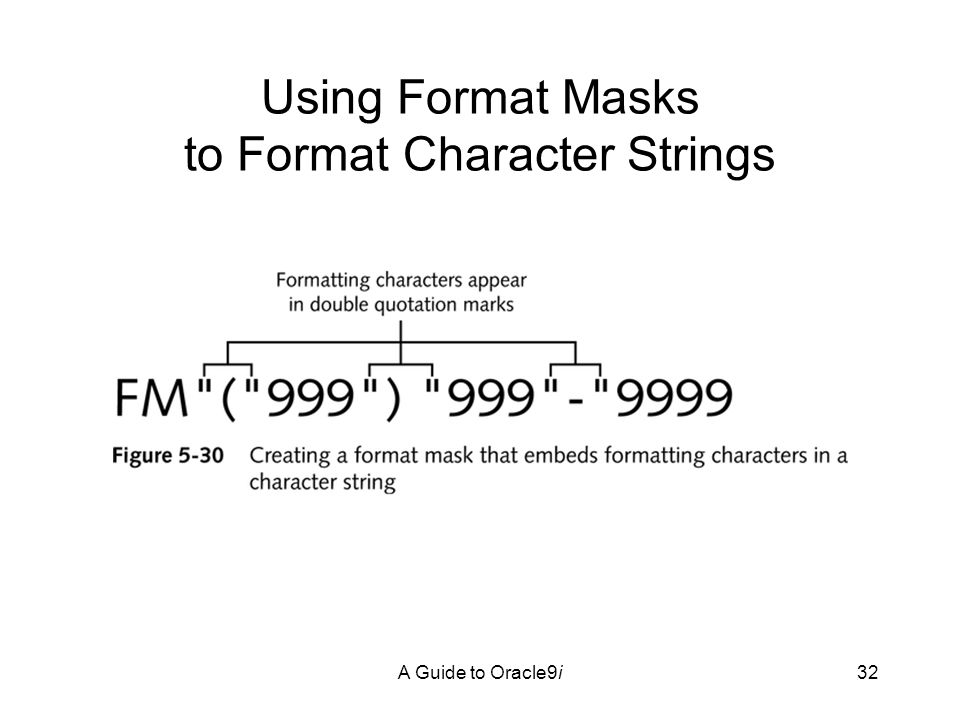 A Guide to Oracle9i32 Using Format Masks to Format Character Strings