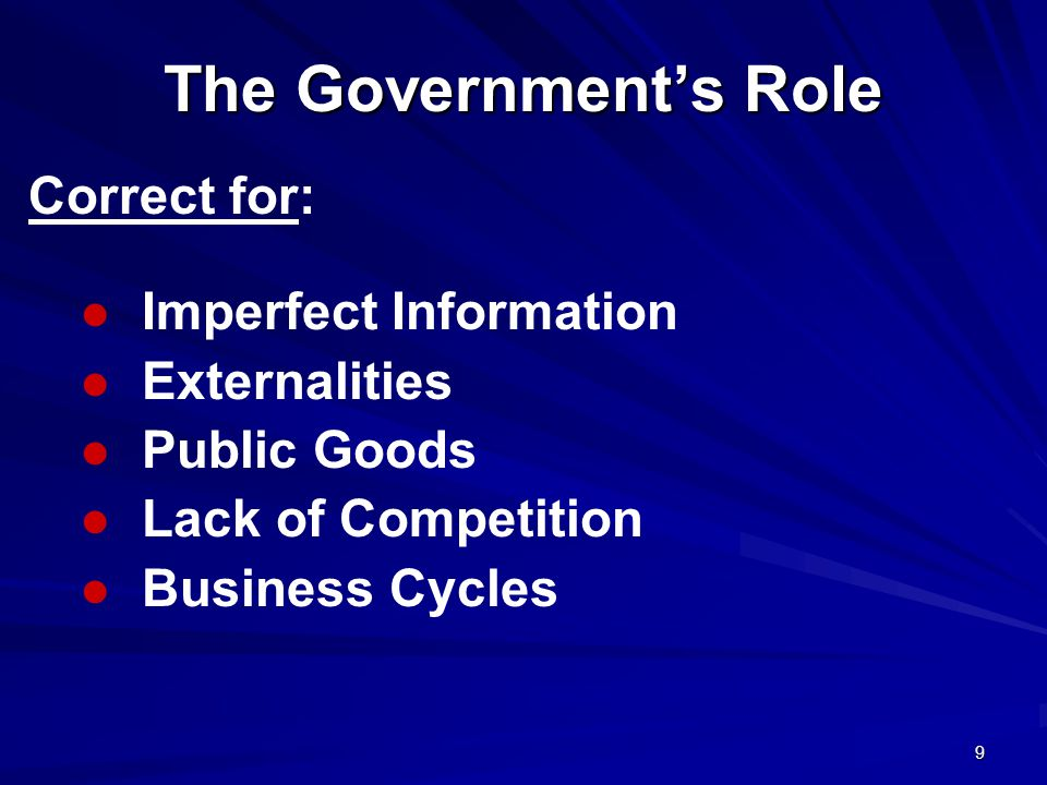 9 The Government's Role Imperfect Information Externalities Public Goods Lack of Competition Business Cycles Correct for: