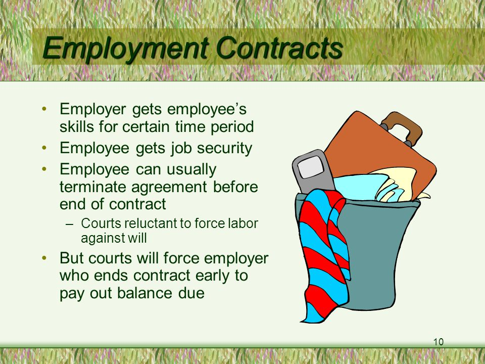 10 Employment Contracts Employer gets employee's skills for certain time period Employee gets job security Employee can usually terminate agreement before end of contract –Courts reluctant to force labor against will But courts will force employer who ends contract early to pay out balance due