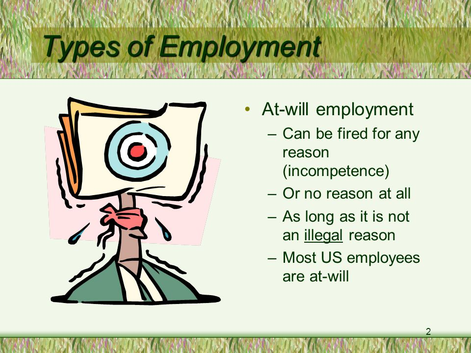 2 Types of Employment At-will employment –Can be fired for any reason (incompetence) –Or no reason at all –As long as it is not an illegal reason –Most US employees are at-will