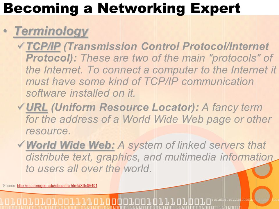 Becoming a Networking Expert TerminologyTerminology TCP/IP TCP/IP (Transmission Control Protocol/Internet Protocol): These are two of the main protocols of the Internet.