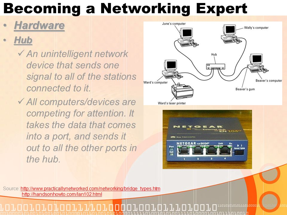 Becoming a Networking Expert HardwareHardware HubHub An unintelligent network device that sends one signal to all of the stations connected to it.