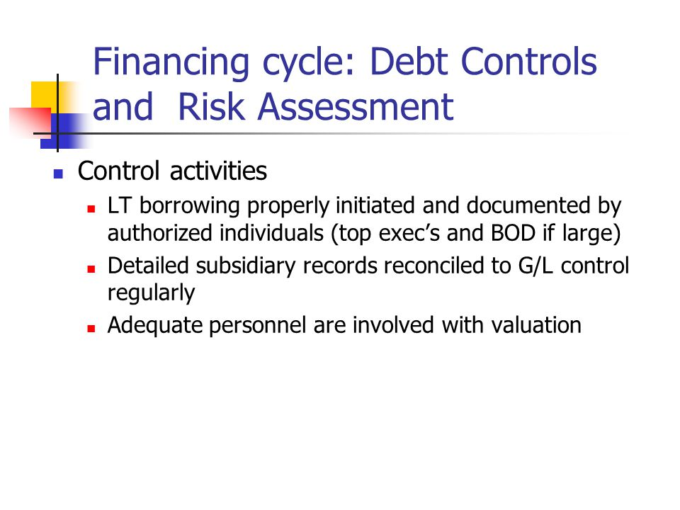 Financing cycle: Debt Controls and Risk Assessment Control activities LT borrowing properly initiated and documented by authorized individuals (top exec's and BOD if large) Detailed subsidiary records reconciled to G/L control regularly Adequate personnel are involved with valuation
