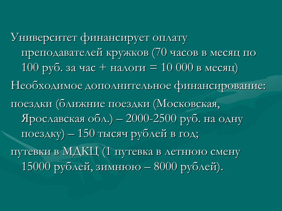 Университет финансирует оплату преподавателей кружков (70 часов в месяц по 100 руб.