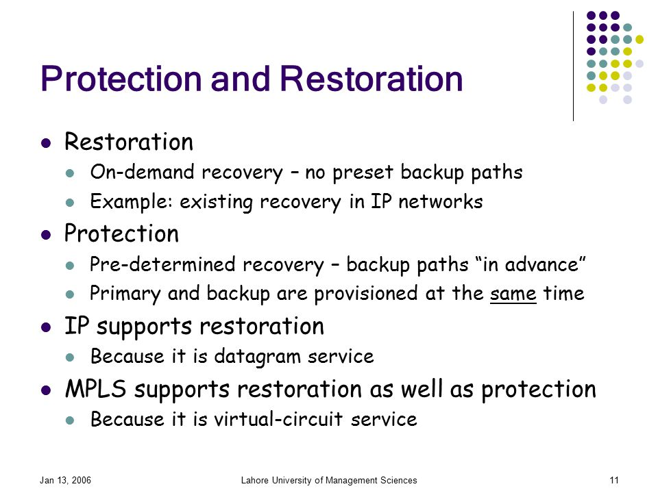 Jan 13, 2006Lahore University of Management Sciences11 Protection and Restoration Restoration On-demand recovery – no preset backup paths Example: existing recovery in IP networks Protection Pre-determined recovery – backup paths in advance Primary and backup are provisioned at the same time IP supports restoration Because it is datagram service MPLS supports restoration as well as protection Because it is virtual-circuit service