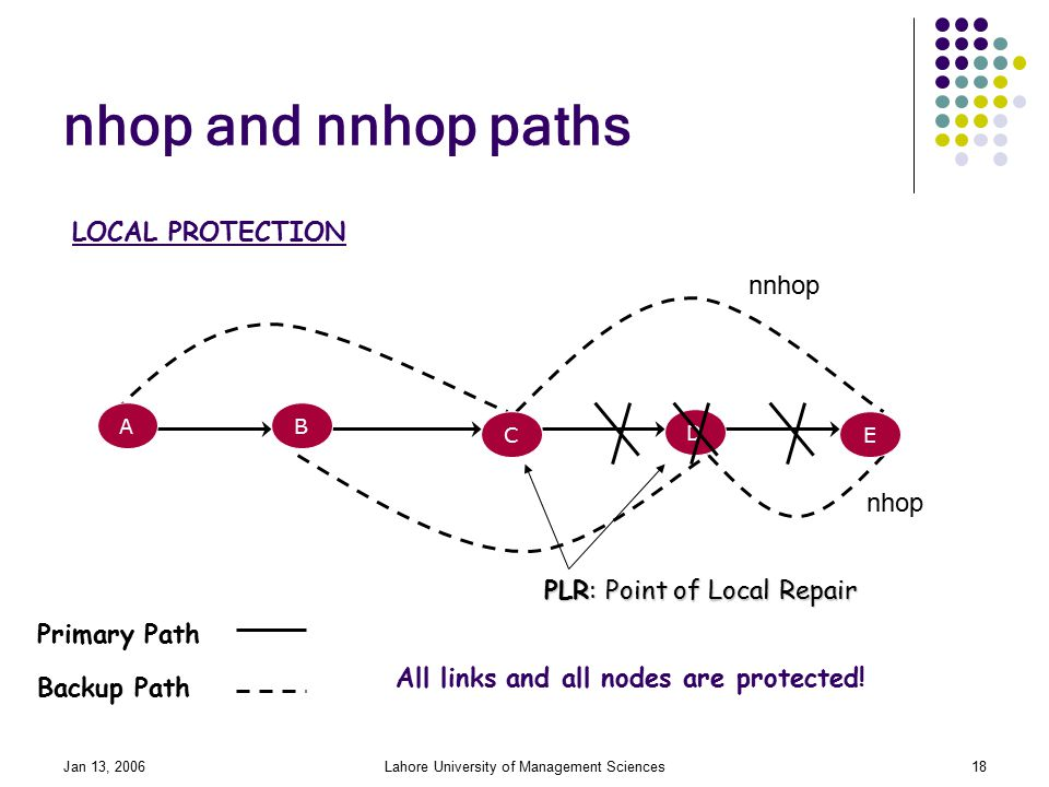 Jan 13, 2006Lahore University of Management Sciences18 nhop and nnhop paths Primary Path Backup Path All links and all nodes are protected.