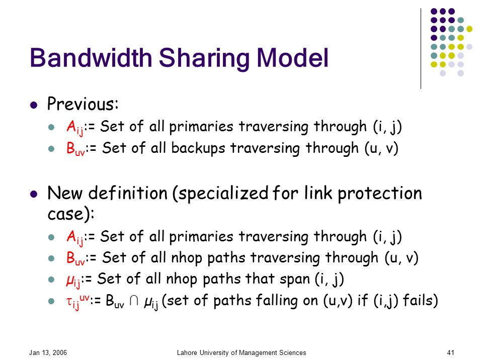 Jan 13, 2006Lahore University of Management Sciences41 Bandwidth Sharing Model Previous: A ij := Set of all primaries traversing through (i, j) B uv := Set of all backups traversing through (u, v) New definition (specialized for link protection case): A ij := Set of all primaries traversing through (i, j) B uv := Set of all nhop paths traversing through (u, v) µ ij := Set of all nhop paths that span (i, j)  ij uv := B uv ∩ µ ij (set of paths falling on (u,v) if (i,j) fails)