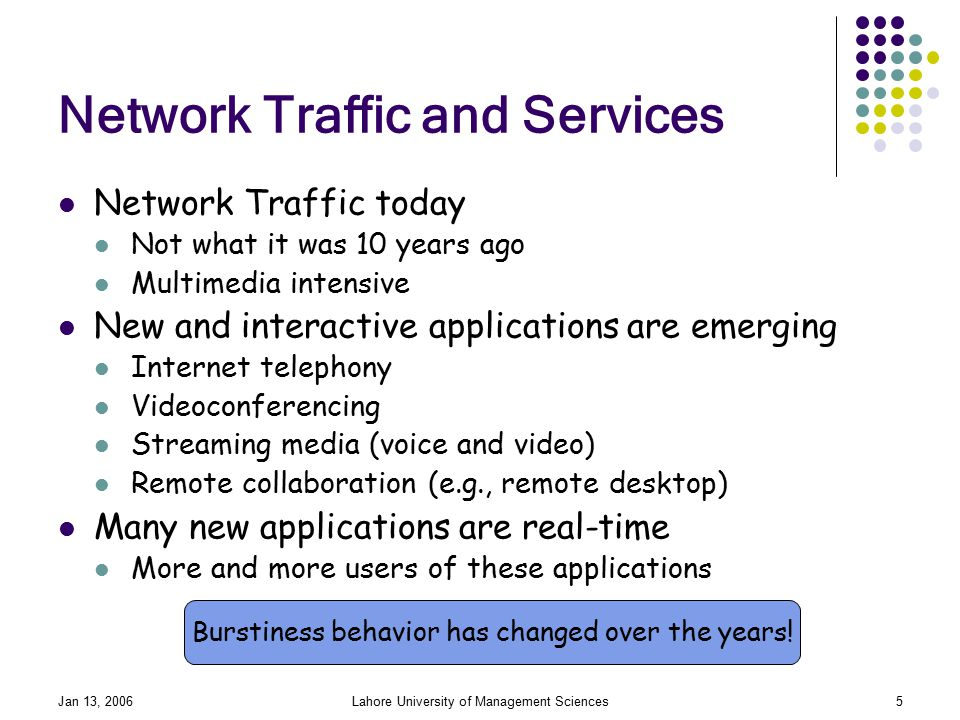Jan 13, 2006Lahore University of Management Sciences5 Network Traffic and Services Network Traffic today Not what it was 10 years ago Multimedia intensive New and interactive applications are emerging Internet telephony Videoconferencing Streaming media (voice and video) Remote collaboration (e.g., remote desktop) Many new applications are real-time More and more users of these applications Burstiness behavior has changed over the years!