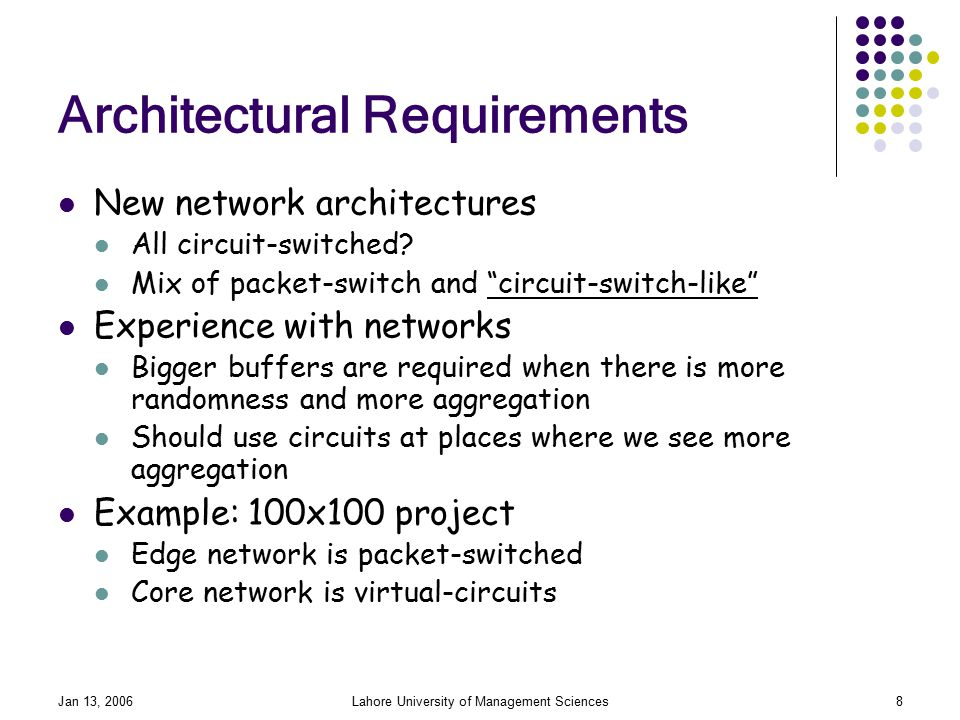 Jan 13, 2006Lahore University of Management Sciences8 Architectural Requirements New network architectures All circuit-switched.