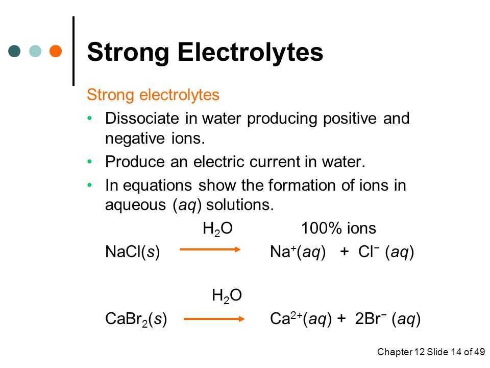 Chapter 12 Slide 14 of 49 Strong electrolytes Dissociate in water producing positive and negative ions.