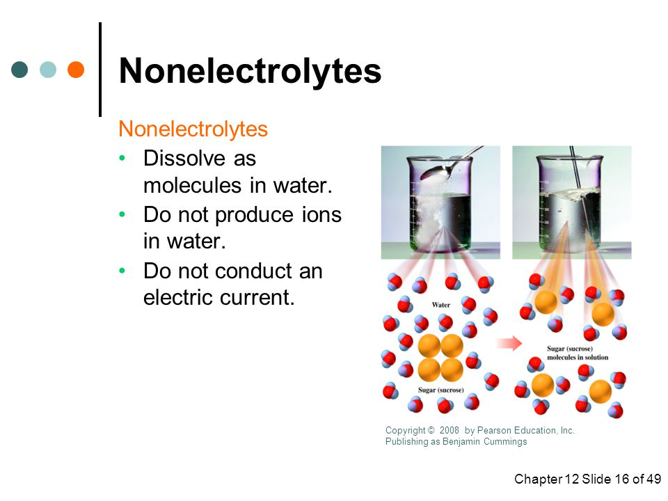 Chapter 12 Slide 16 of 49 Nonelectrolytes Dissolve as molecules in water.