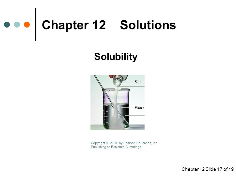 Chapter 12 Slide 17 of 49 Chapter 12 Solutions Solubility Copyright © 2008 by Pearson Education, Inc.